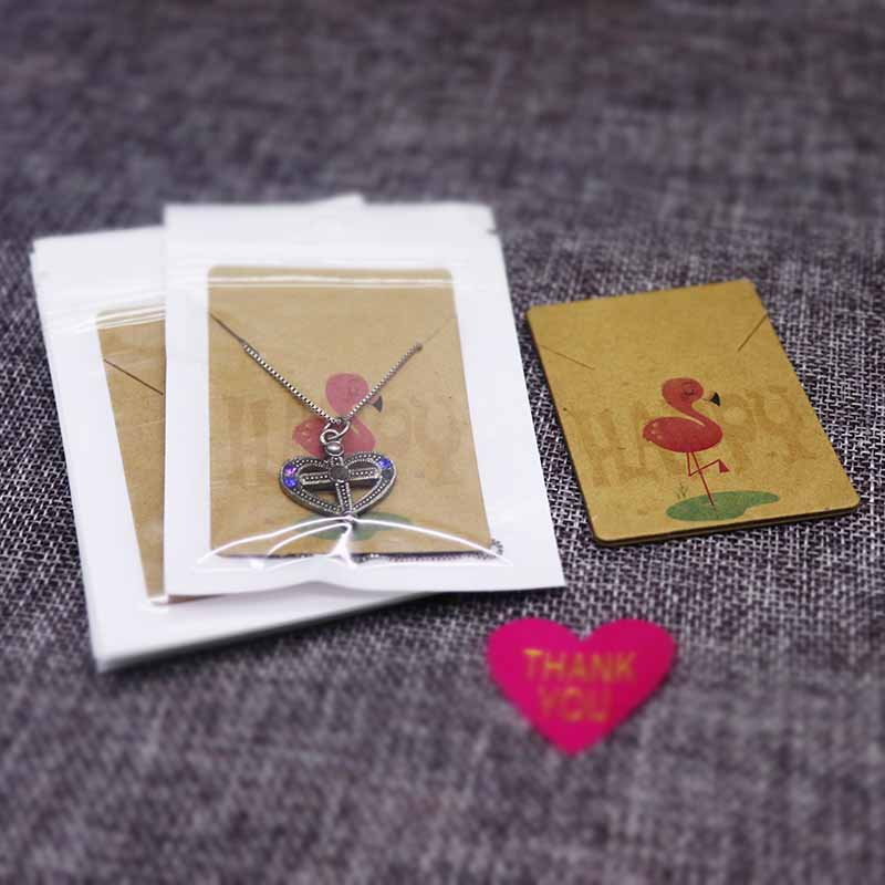 2019 New Design White/kraft Paper Necklace Pendant Packaging Card Handmade Flower/marble/sweet Love Jewelry Charms Display Card