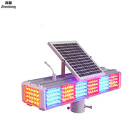 Solar Flashing Light 4 Sides Strobe Light Intersection Led Yellow Flash Light Super Bright Anti fog Red and Blue Led for Highway