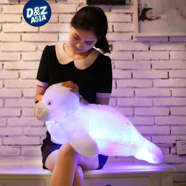 Flashing felpa océano sea lion belleza muñeca de peluche de peluche de juguete de felpa muñeca Almohada Luz LED Luminoso creativo regalo de cumpleaños