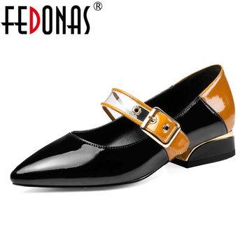 FEDONAS Spring Genuine Leather Buckle Women Pumps Fashion Square Heels Shallow Office Shoes Woman Genuine Leather Mary Janes