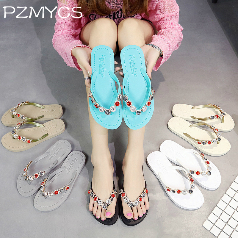 PZMYCS Women Slippers 2018 Summer Beach Slippers Flip Flops Sandals Women Pearl Fashion Slippers Ladies Flats Shoes women slippers summer beach slippers flip flops sandals women pearl fashion slippers ladies flats shoes free shipping