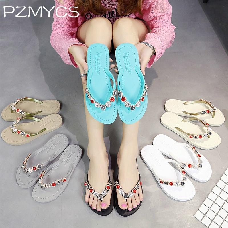 PZMYCS Women Slippers 2018 Summer Beach Slippers Flip Flops Sandals Women Pearl Fashion Slippers Ladies Flats Shoes mnixuan women slippers sandals summer