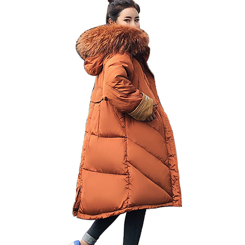 2018 New women Coats Thick Winter Jacket Women Hooded Fur Collar Down Cotton Coat Long Jacket Female   Parkas   Outwear Mujer Coats