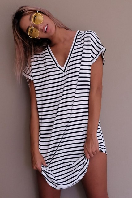 Casual Striped Dress V Neck Sexy Women Cotton Straight Long T Shirt Top Tee Boho vestido Summer Style Beach Wear Preppy Desses  1