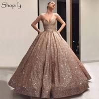 Sparkly Long Women Formal Dresses 2020 Ball Gown Sweetheart Rose Gold Arabic Style Dubai Evening Dress robe de soiree