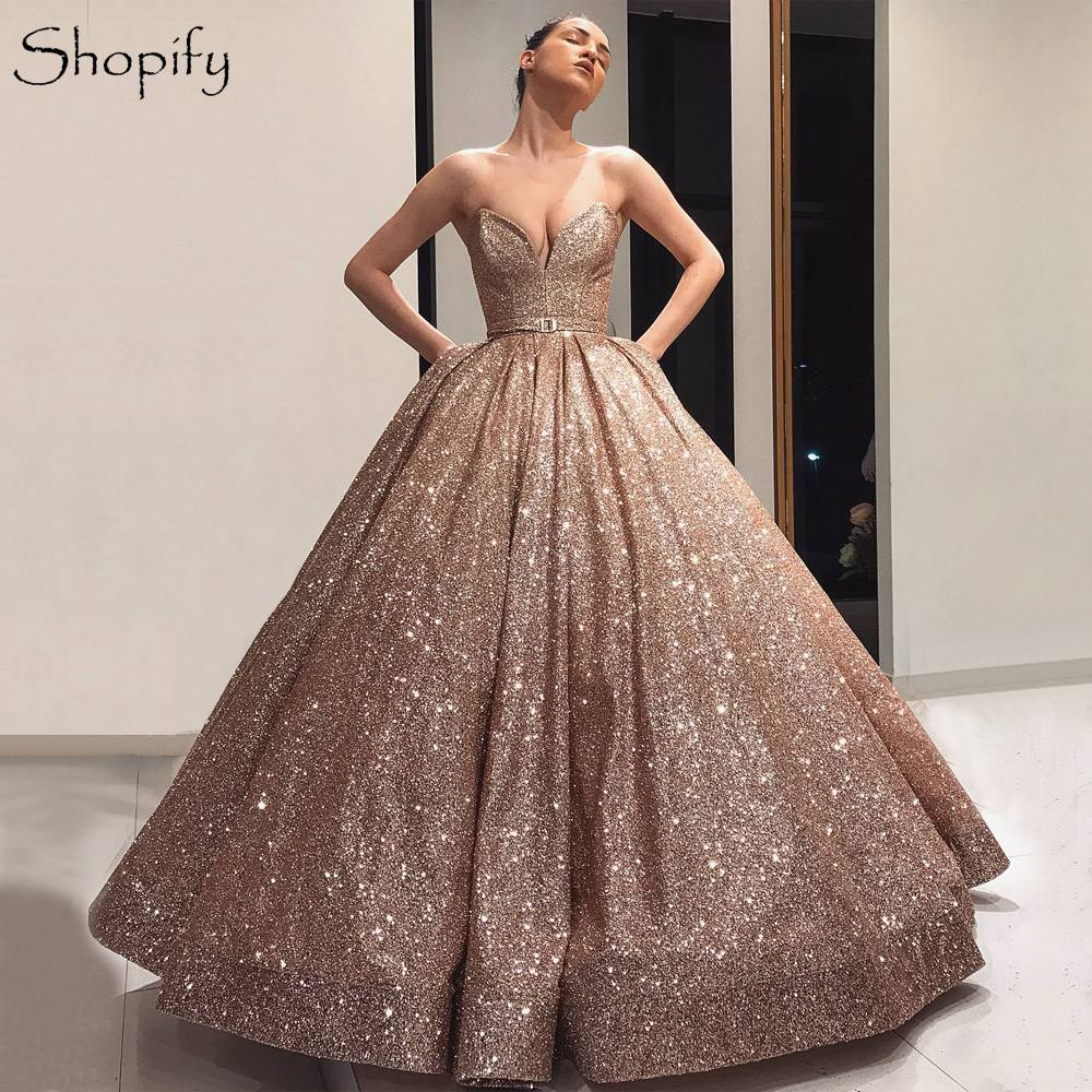 Sparkly Long Women Formal   Dresses   2018 Ball Gown Sweetheart Rose Gold Arabic Style Dubai   Evening     Dress   robe de soiree