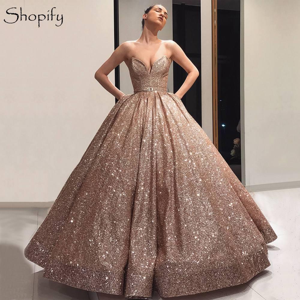 newest 72b16 b55d2 Sparkly Lungo Abiti Da Cerimonia Donna 2019 Abito di Sfera Sweetheart Oro  Rosa Stile Arabo Dubai Vestito Da Sera robe de soiree