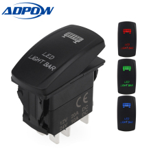 ADPOW 5 Pin Laser Rocker Toggle Switch SASQUATCH Light 20A 12V On/off LED Light Blue Green Red Car Styling