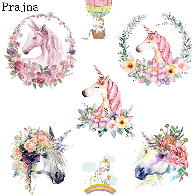 Prajna Anime Unicorn Iron On Transfers Patches For T-Shirt Heat Transfer Vinyl Stickers For Clothes Thermal Transfer Applique E