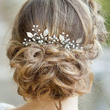 2019 Bridal Flower Faux Pearl Crystal HairPins Clips Bridesmaid Wedding U-shape Barrette Crystal Floral Leaves Hair Clips faux crystal inlaid hollow out flower barrette