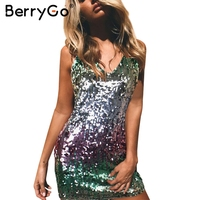 BerryGo Sexy Backless Strap Sequin Mini Dress Women V Neck Lace Up Club Party Dresses Female