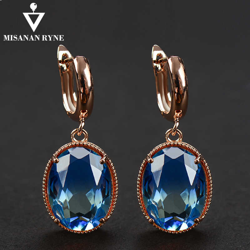 MISANANRYNE Elegant hoop earrings big Blue GREEN Crystal Dangle Golden Earrings for Women Wedding Jewelry Gradient oorbellen