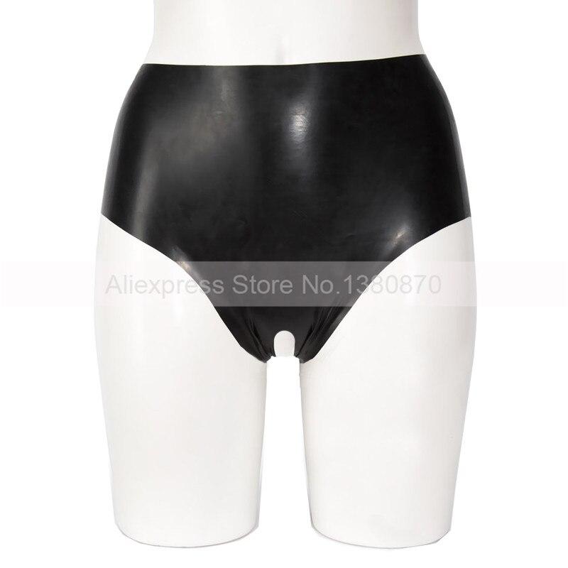 Femme ouvert entrejambe Latex caoutchouc court Sexy sous-vêtements Latex culottes S-LPW063