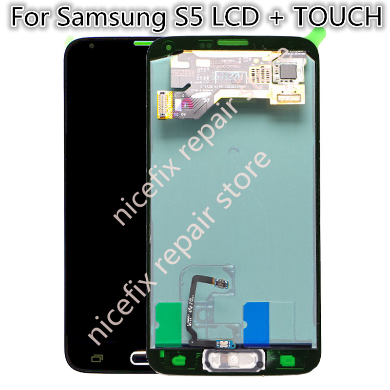 For Samsung Galaxy S5 G900A G900W8 G900T G900F LCD DisplayTouch Screen Digitizer with home button for