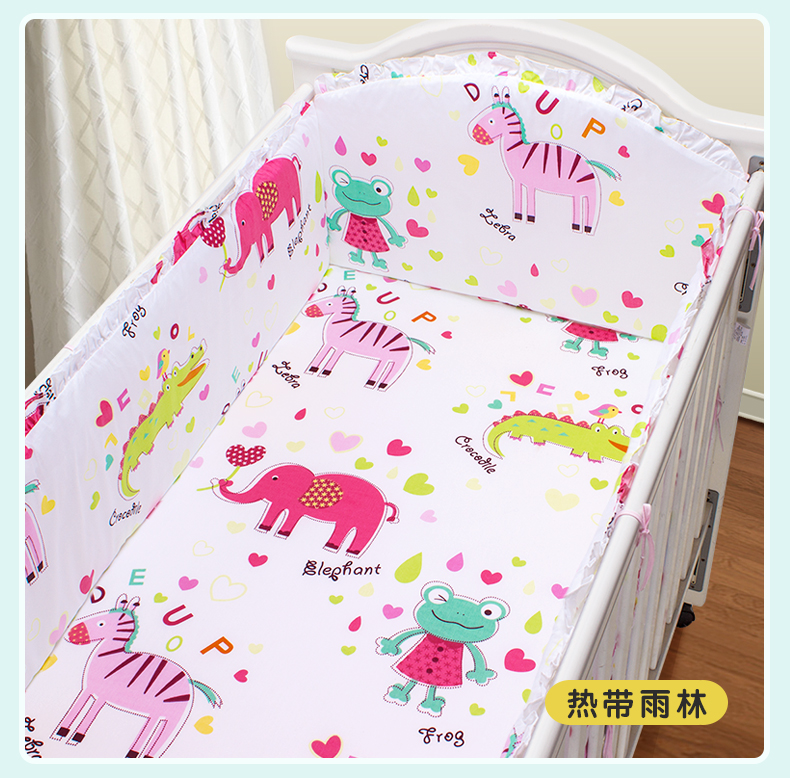 Promotion! 5pcs cotton baby bedding sets washable crib baby bed set,include(4bumpers+sheet)