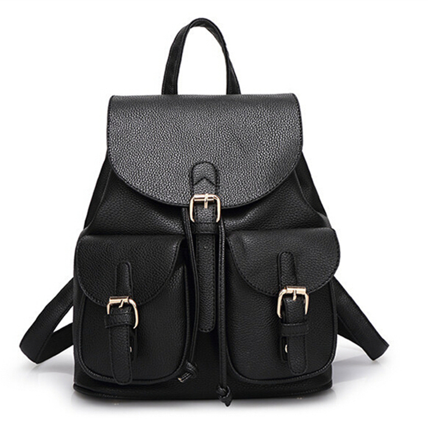Women Leather Backpack Fashion Black Schoolbag for Adolescent Girls Cute Candy Color Pink Beige Female Travel