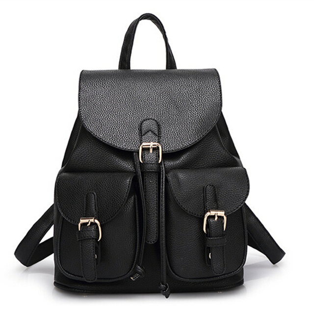 64eb63537afd Women Leather Backpack Fashion Black Schoolbag for Adolescent Girls Cute  Candy Color Pink Beige Female Travel Bag Bolsas Mochila