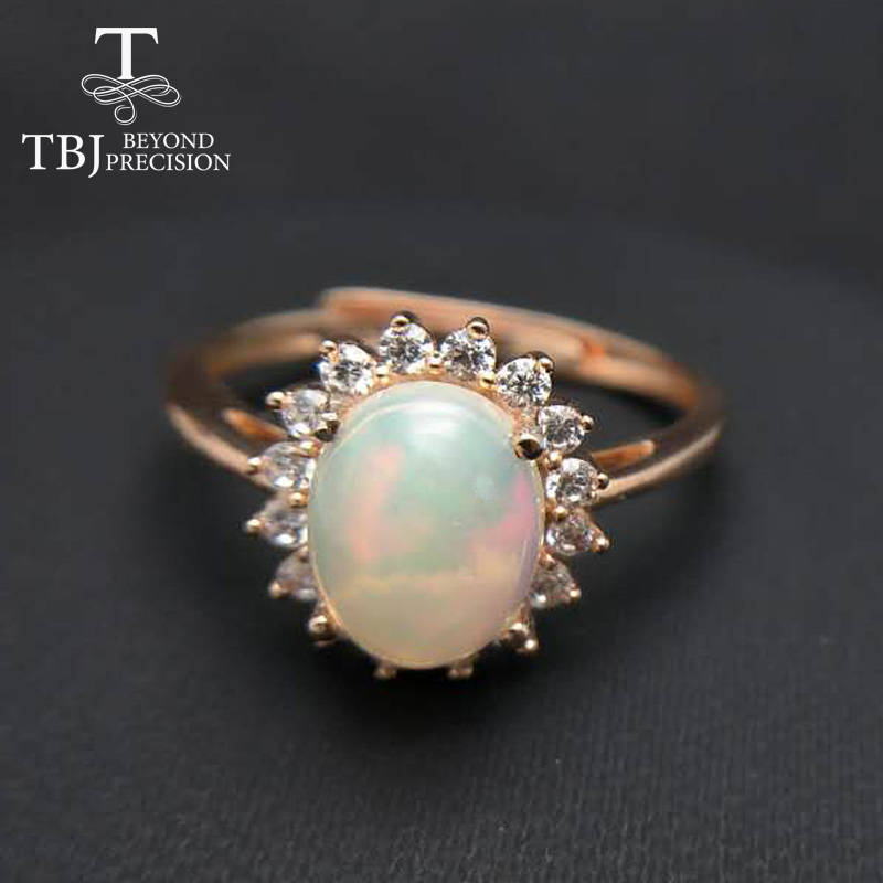 TBJ,elegant 1.5ct  opal lady ring,oval 7*9mm natural ethiopian fire opal classic diana ring in 925 sterling silver gemstone Ring-in Rings from Jewelry & Accessories    2