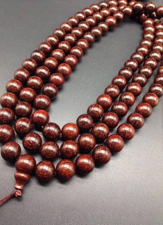 8mm/10mm Natuurlijke India Rood Sandelhout Kralen Grade AAA Hoge dichtheid 108 Mala Kralen Gebed Armband of Ketting DIY Accessoires