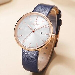 Image 3 - NAVIFORCE Frauen Uhr Mode Lässig Quarz Dame PU Armband Einfach Datum Wasserdichte Armbanduhr Geschenk für Mädchen/Frau/Frau 2019
