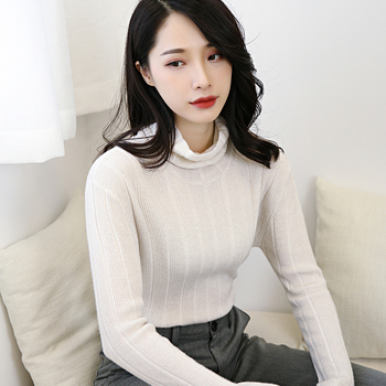 Autumn and winter new cashmere sweater fashion wild cashmere sweater women's solid color tight-fitting long-sleeved pullover