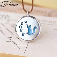 Phesee Love Cat Pendant Necklaces Stainless Steel Hollow Out Can Open As Essential Oil Diffuser Accessories for Women Girls
