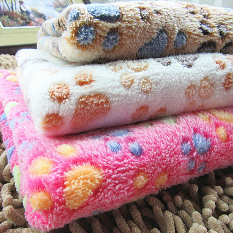 P04 Pet Dog Bed Mat Cover Warm Blanket Soft Fleece Towel Paw Handcrafted Print Puppy Dog Cats House Bed Winter Pet Supplies