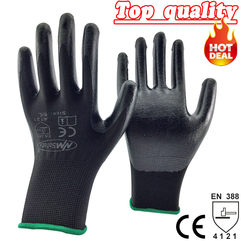 NMSafety wholesale glove of black coated work gloves nitrile glove for work assembly use 24pcs=12pairs overalls gloves nmsafety nitrile solvent gloves oil resistant slip resistant glove chemical work glove
