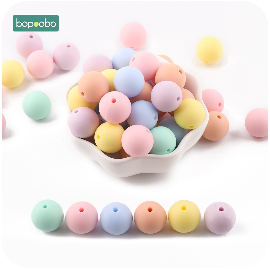 Bopoobo 20mm Baby Silicone Beads 10pc Candy Color Bites Food Grade Teething Accessories DIY Nursing Jewelry Baby Teether