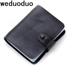 Weduoduo New Women Men Credit Card Holder Split Leather Large Capacity Business ID Holders Organizer 60 Slots