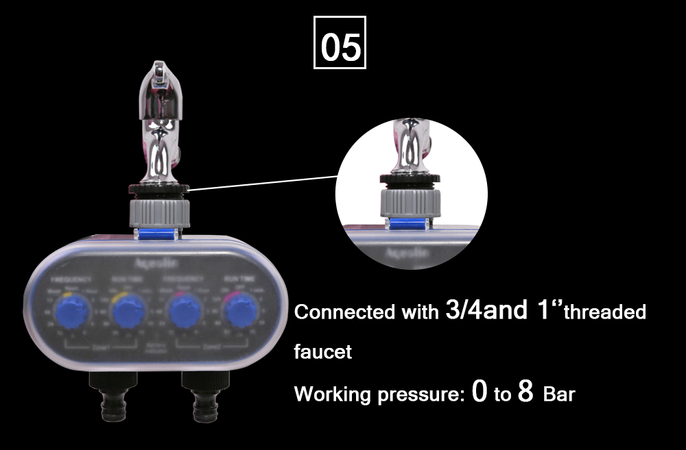HTB1TnRYX6zuK1Rjy0Fpq6yEpFXas Ball Valve Electronic Automatic Watering Two Outlet Four Dials Water Timer Garden Irrigation Controller for Garden, Yard #21032
