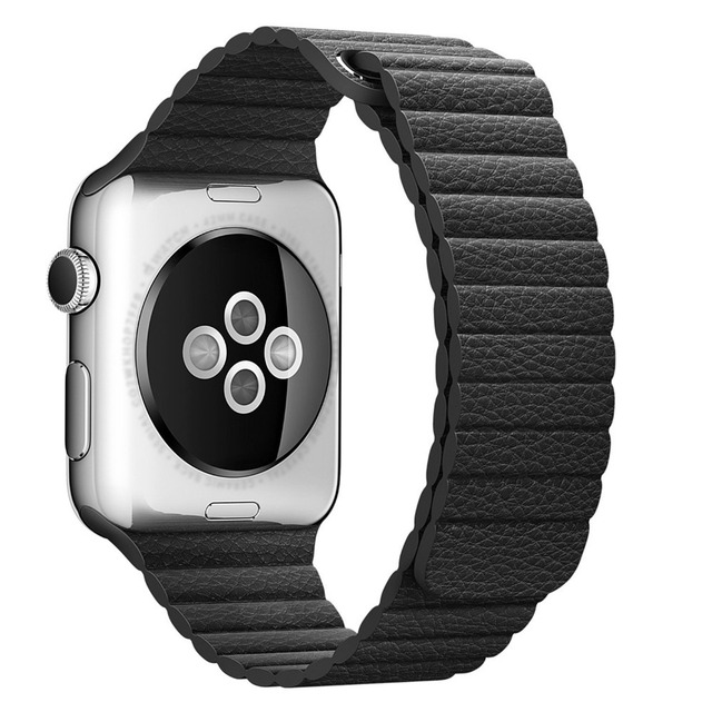 Five Colors Leather Watchband Quick Release Leather Watch Strap Magnetic Closure Leather Loop for Apple Watch AWLMCS