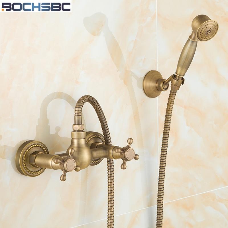 BOCHSBC European Rain Shower Set Antique Brass Tub Shower Faucet Hand Telephone  Shower Head Simple Shower Heads In Shower Heads From Home Improvement On ...