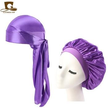 Fashion Men's Durag Headwear Durags and Bonnets Women  Comfortable Cap Couple 2pcs sets 2