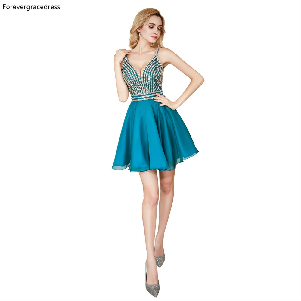Forevergracedress Blue Fit and Flare Short   Cocktail     Dresses   A Line Chiffon Backless Girls Party Gowns Plus Size Custom Made