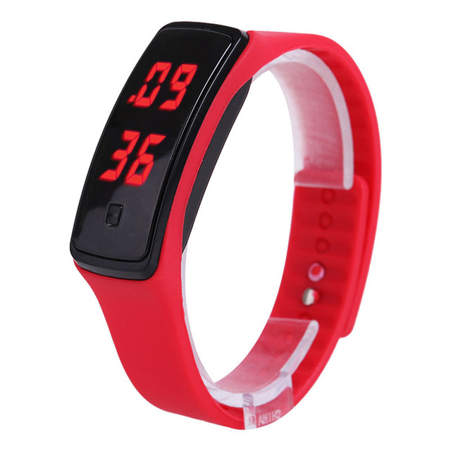 Sport LED Digital Watch Silicone Rubber Screen Bracelet Watches Candy Color Fash