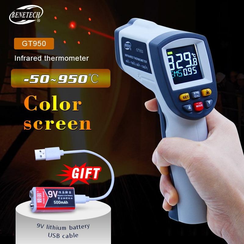 BENETECH Digital Laser termometro-50 ~ 750/950C Senza contatto del laser Pistola del Punto misuratore di Temperatura Pirometro IR di Colore schermo