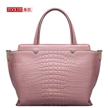 ZOOLER New 2016 arrival genuine leather handbag pink capacity Trapeze woman fashion bags Alligator pattern shoulder bag#AEJ-1312
