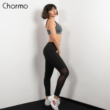Charmo Women Yoga Pants Slim High Waist Sports Mesh Outdoor Running Gym Fitness Elastic Trousers Sport Wear Legging