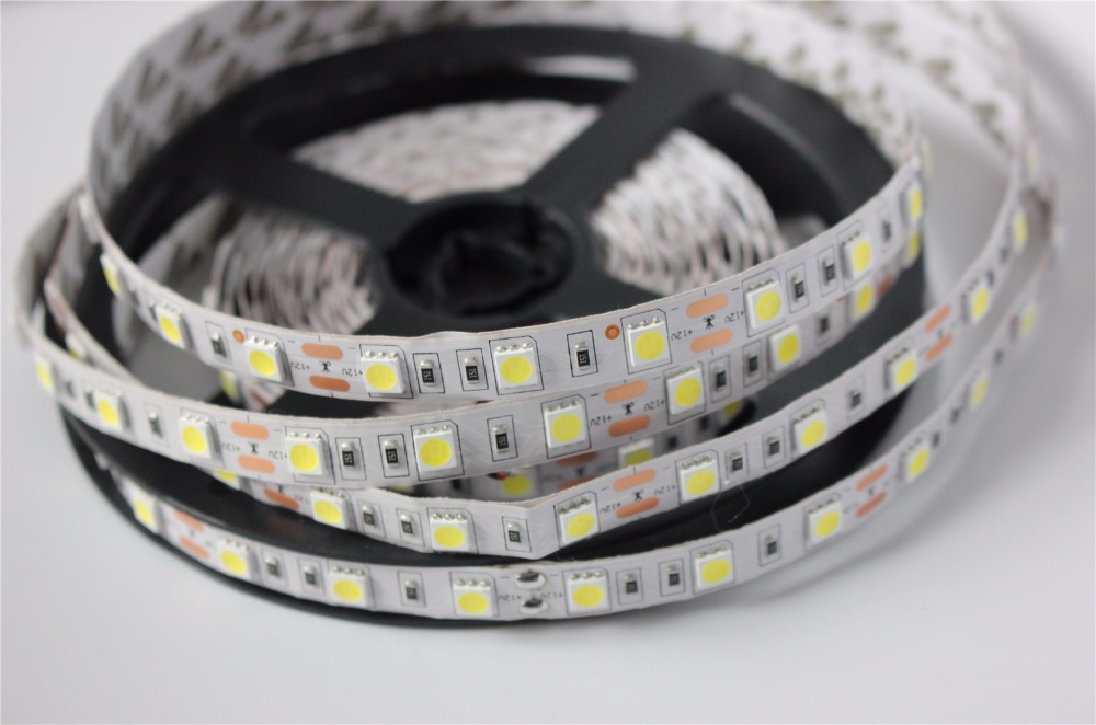 SMD 5050 LED Strip 5M 60led/m DC 12V 24V Flexible Ribbon Diode Tape RGB White Warm White Red Green Blue Yellow Light