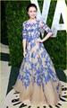 Великолепный Королевский Синий Аппликации Шампанское Знаменитости Платья 2016 Элегантные Линии Половина Рукава Высокого Декольте Длинные Вечерние Платья