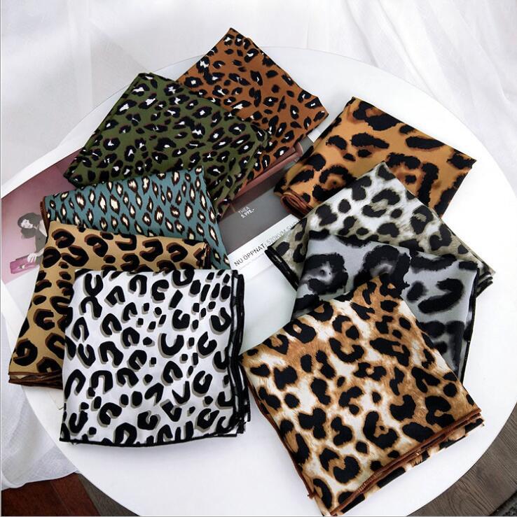 New 70cm Women Multifunction Polyester Silk Scarf Sexy Leopard Women Neckerchief Prints Satin Small Square Wraps Scarves Shawl