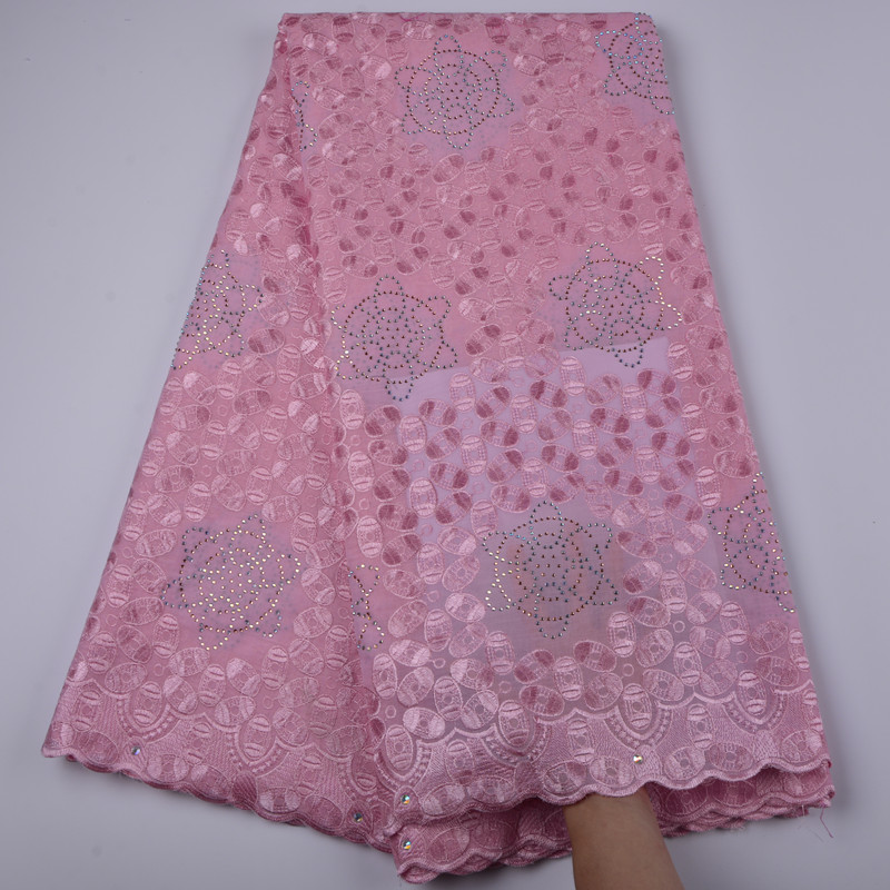 High quality pink African cotton lace fabric elegant embroidered Swiss voile lace fabric for party dress