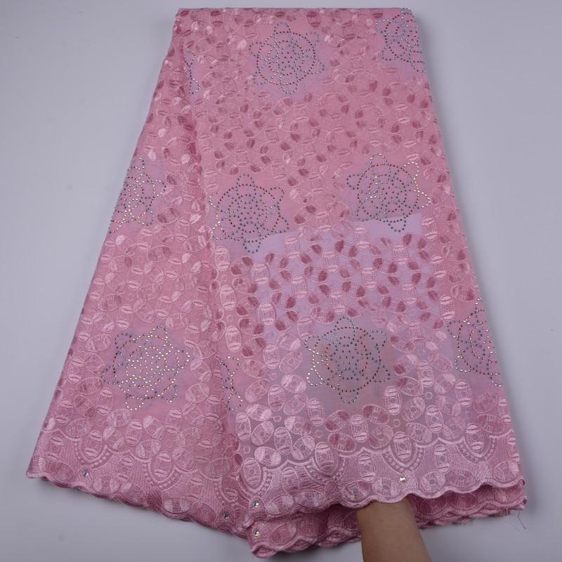 Hohe qualität rosa Afrikanische baumwolle spitze stoff elegante bestickt Schweizer voile spitze stoff für party kleid A1311-in Spitze aus Heim und Garten bei  Gruppe 1
