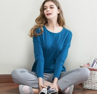 2016 Sets New Spring And Summer Cotton Long Sleeve Pajamas Women Fall Round Collar Leisure Big