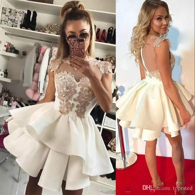 Simple White See Through 2019   Cocktail     Dresses   A-line High Collar Cap Sleeves Short Mini Lace Elegant Homecoming   dresses