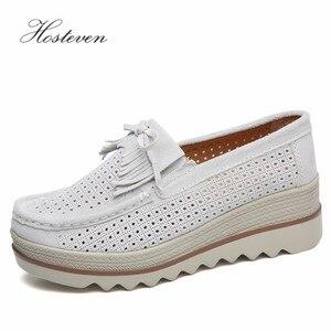 Image 5 - Hosteven נשים נעלי סניקרס שטוח ופרס מוקסינים פלטפורמת עור אמיתי אביב סתיו גבירותיי נקבה נדנדה