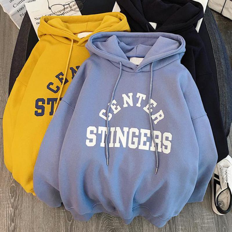 Zuolunouba Winter Thick Section Women's Clothing Print Letter Harajuku Women Hoody Sweatshirt Fashion Long Sleeve Lady Pullover