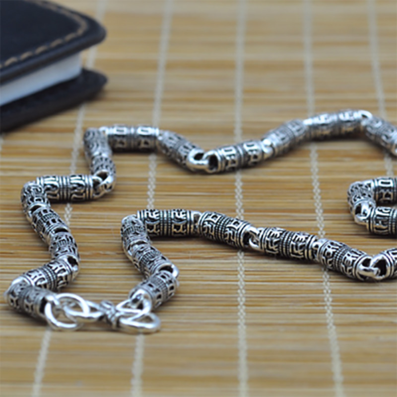 Real Pure 925 Sterling Silver Six Words Mantra Necklace For Men Vintage Thai Silver Om Mani Padme Hum Tibetan Buddhism Jewelry