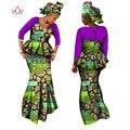 2017 de Diseño de Moda Falda de Las Mujeres Conjuntos de Noche Trajes Top y Falda Tamaño 6XL Maix vestido tradicional en áfrica WY1325